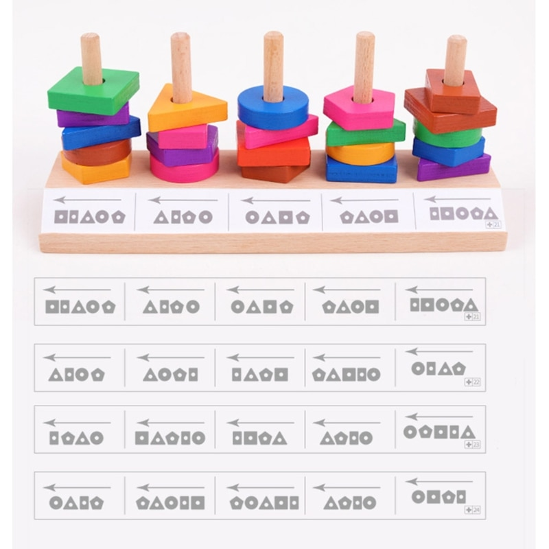 D7WF Shape Matching Toy Sorting Game Set for Baby Development Creative Match Game Wooden Building Block for Preschool Teach