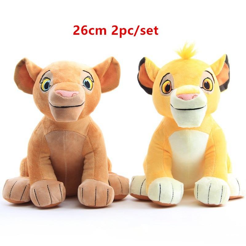 Conjunto de 2 peças de brinquedo de 26cm, boneco macio de leão, simba nala, infantil, boneca simba, animais de pelúcia, brinquedo para crianças presentes frete grátis