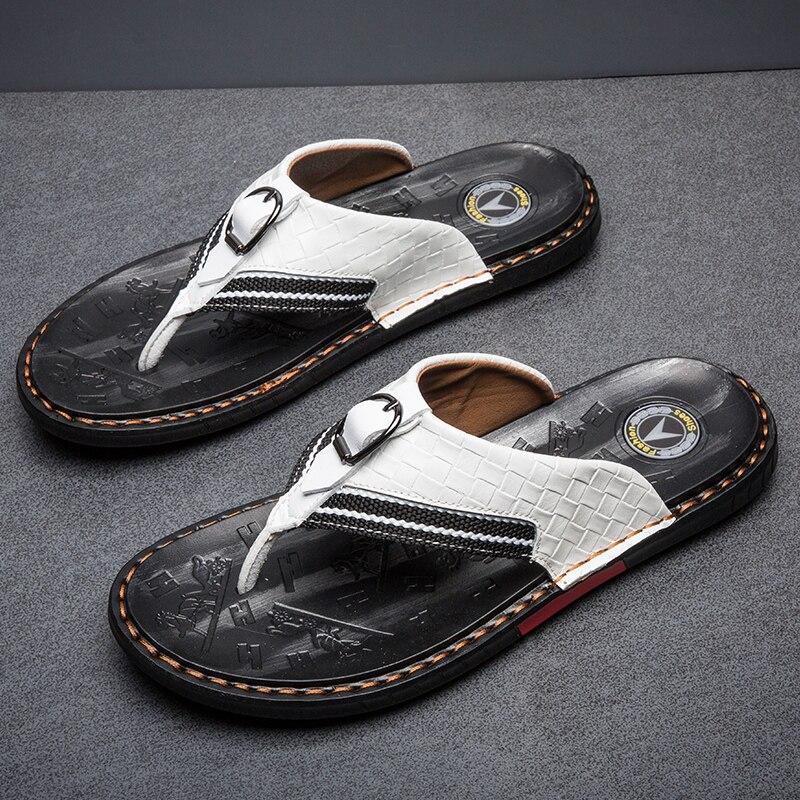 Weh marca de sapatos masculinos chinelos de couro genuíno chinelos de luxo praia sandálias casuais