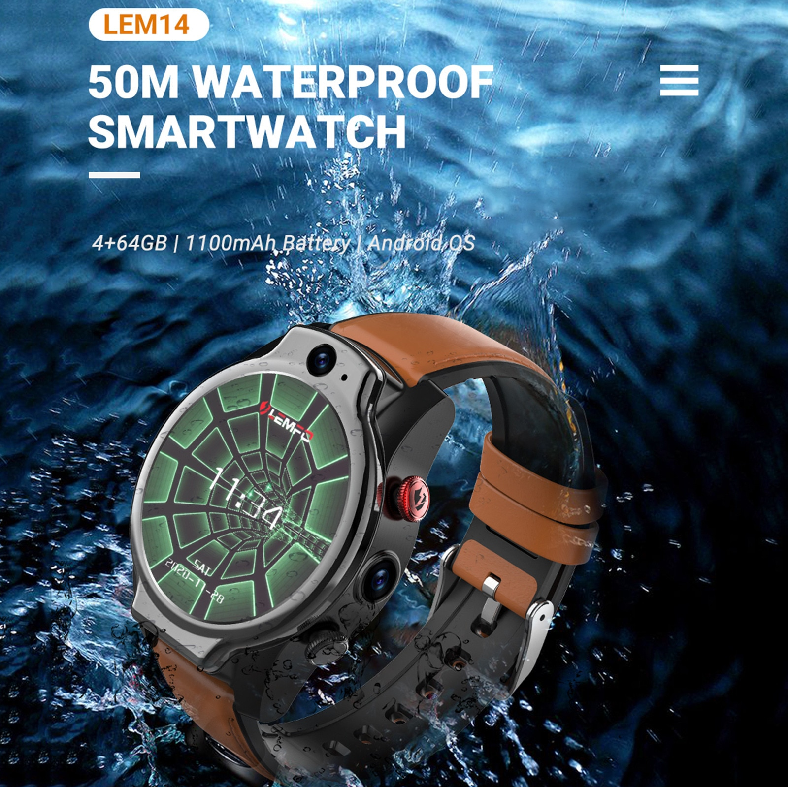 LEMFO LEM14 4G Android Smart Watch Men's and Women's Dual Camera 1.6 Inch Facial Recognition 4G+64G Multifunction Watch P6 SM