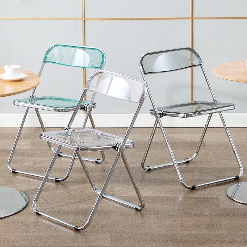 شفاف كريستال الطعام كرسي البراز موضة كرسي قابل للطي غرفة نوم ماكياج كرسي صور كرسي المنزل كرسي بمسند ظهر أثاث المنزل