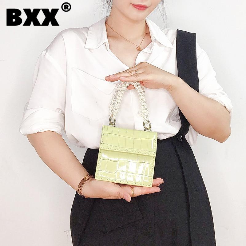 [BXX] Woman New Brand Mini Pearls Chain Handbag PU Leather Personality All-match Crossbody Shoulder Bag Fashion Tide 2021 GF0455