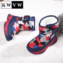 Kids Shoes Winter Plus Velvet Warm Boy Girl Leather Booties Cotton Lining Leather Water Proof Childr
