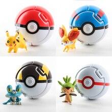 Pikachu figurine dessin animé Pop-up Pokemoner déformation piquer monstre avec poupée grande balle Ultra Metaballs réversible balle jouet
