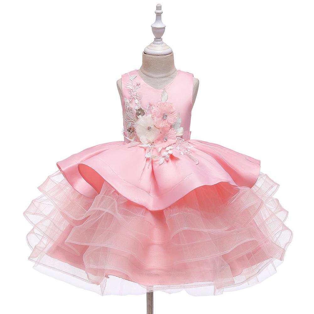 Flower Girl Dresses 5 Colors Sleeveless O-Neck  Girls Pageant Vestidos De Noches Para Ninas