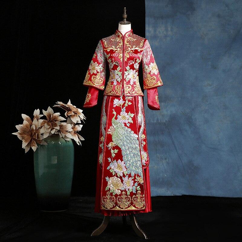 فستان زفاف صيني تقليدي مطرز ، فستان زفاف صيني تقليدي ، تشيباو ، خريف ، جديد