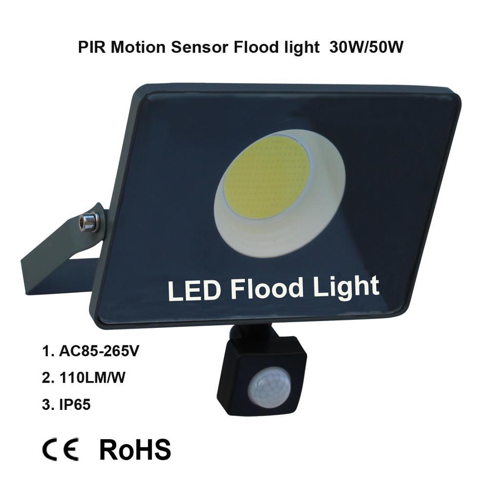 مصباح كشاف LED مقاوم للماء مع مستشعر حركة PIR ، خارجي ، 30W-100W ، AC 220V ، foco