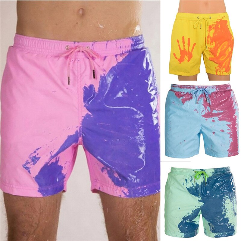 Color-changing Beach Shorts Men Quick Dry Swimwear Beach Pants Warm Color Discoloration Shorts  Swimming Surfing Board Shorts