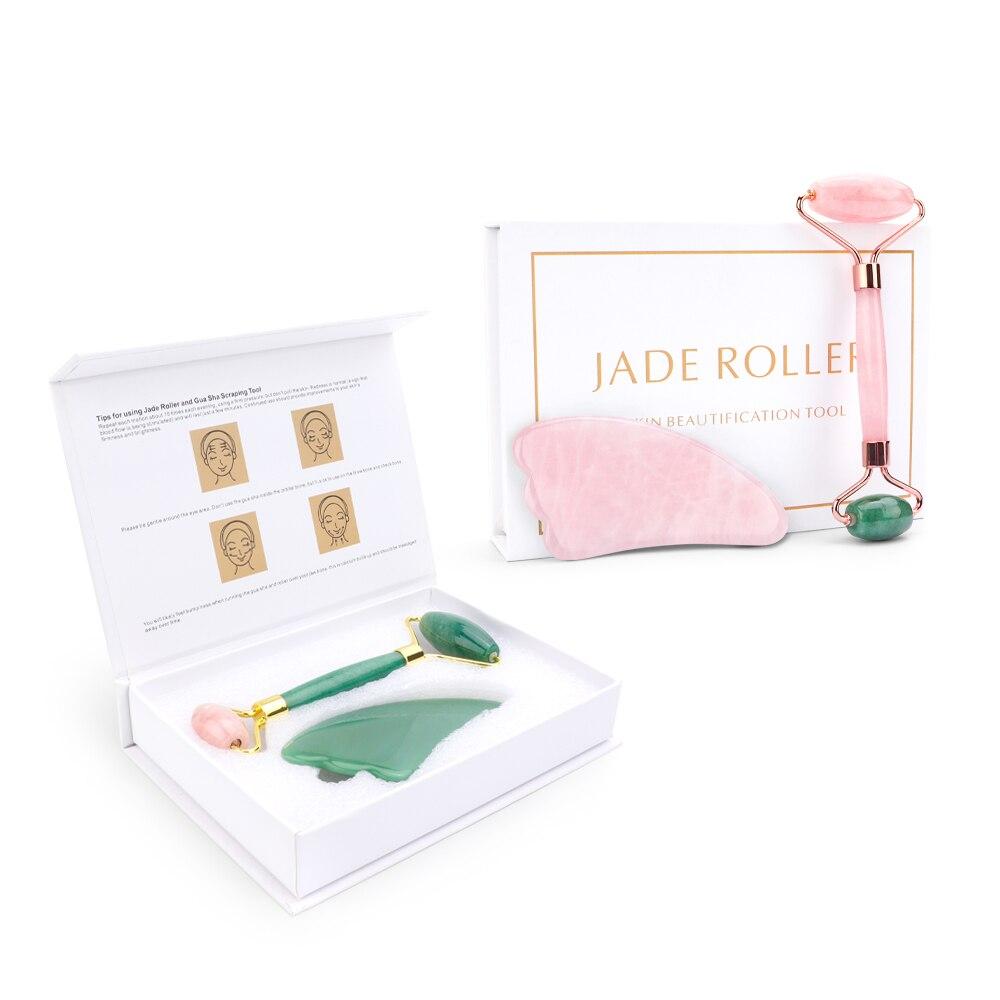 Cor de mistura jade rolo gua sha massagem face lift massager natural quartzo pedra rolo rosto slimming raspador cuidados com a pele para o presente