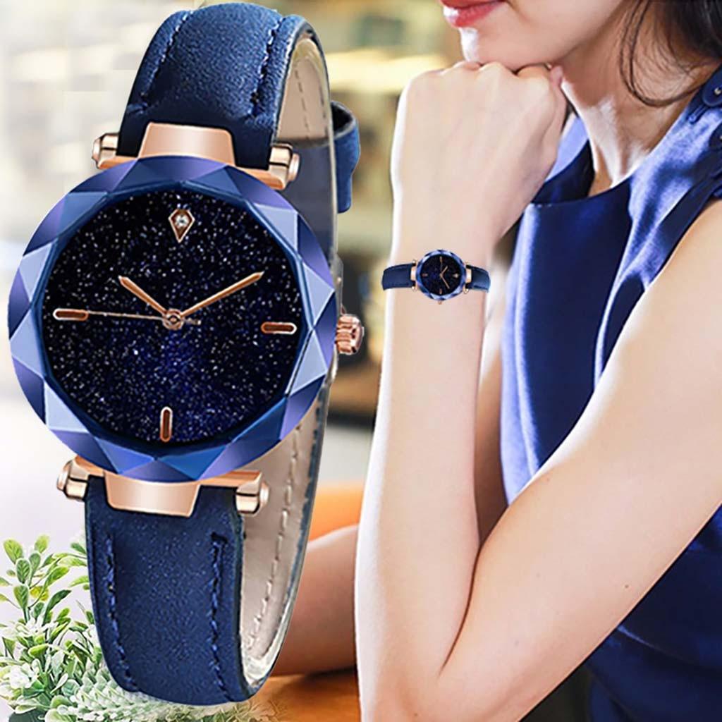 Relógio feminino convexo com pulseira de couro, relógio de pulso simples e elegante, luxuoso, mostrador estrelado, espelhado, 2020
