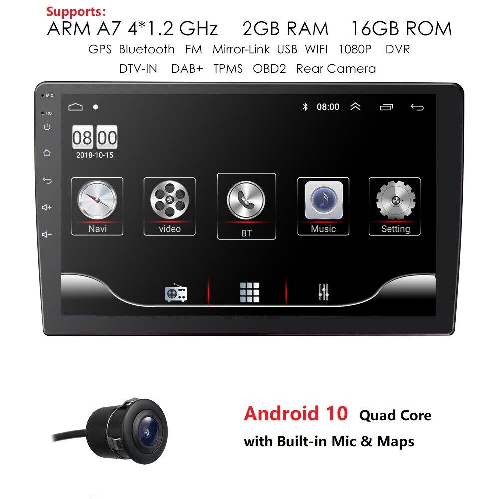 Ossuret 9 coche Android 9,0 reproductor Multimedia Quad Core 2 din radio navegación GPS Wifi Bluetooth de Audio estéreo de coche 2din 2GB + 32GB