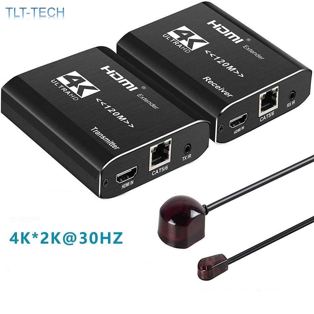 One pair 4K HDMI Extender Transmitter Receiver Over Cat5e/Cat6 RJ45 Ports HDMI Extender Loop 120m HDMI Extender IR For PS4 HDTV