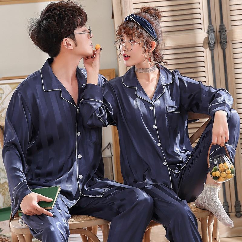 Атлас шелк сексуальный женский пижамы комплект для мужские кимоно пижама уютный мягкий длинный рукав одежда для сна ночная рубашка пары пижамы дом одежда