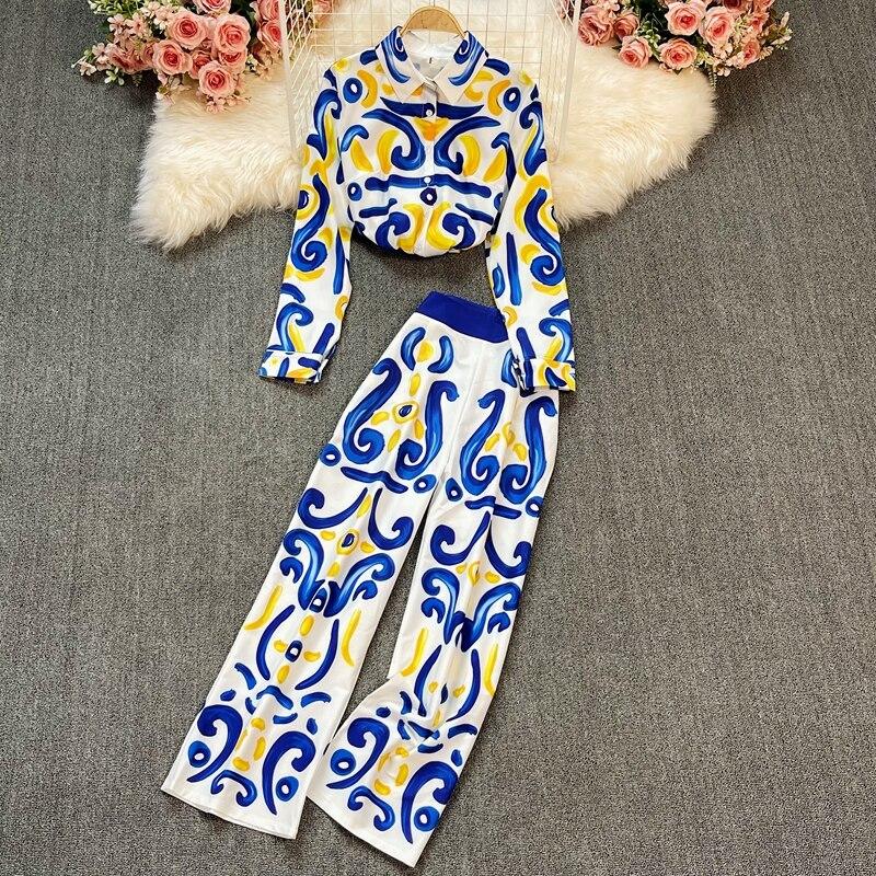المرأة ريترو قصر نمط المطبوعة دعوى المرأة 2021 بلوزة فضفاضة طويلة الأكمام + السراويل دعوى موضة الصيف حجم كبير الملابس