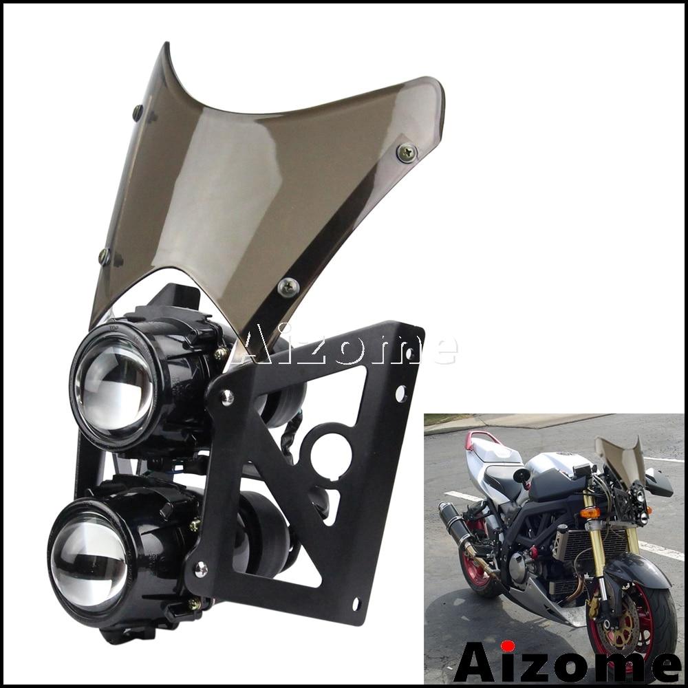Universal Motorcycle Dirt Bike Twin Headlight w/ Bracket Street Bikes Projector Dual Sport Headlamp Wind Screen