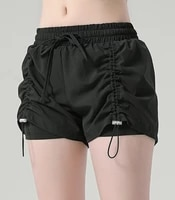 womens shorts elastic lace up female drawstring fake two pieces of casual stretch running yoga fitness sports shorts