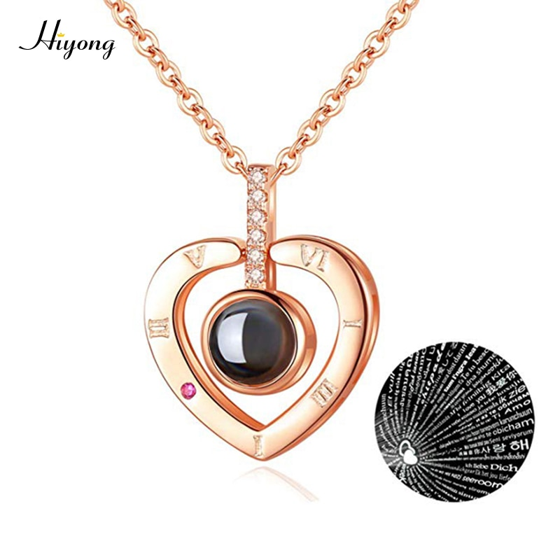 I Love You Necklace 100 Languages Heart Love Necklace Love Memory Projection Pendant Necklace for Women Gifts for Mother's Day недорого