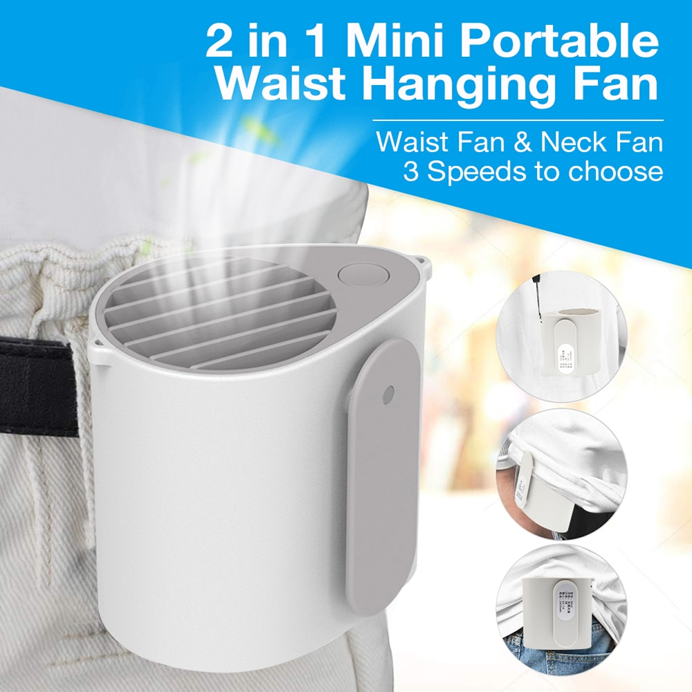 neck fan portable mini usb fans air cooler rechargeable ventilador small travel handheld electric fan silent cooling for outdoor Portable Hanging Waist Fan Mini Electric Usb Rechargeable Cooling Neck Fan Air Conditioner Cooler Ventilador Home Outdoor Travel