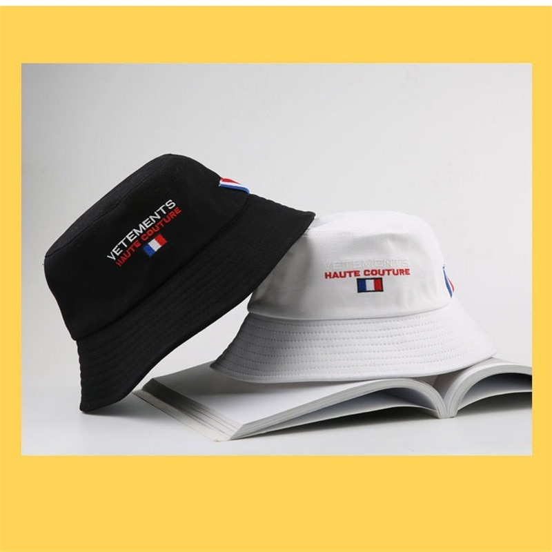 2020 vetements bucket caps masculina feminino casual vetements balde chapéus de alta qualidade 1:1 bandeira francesa bordado boné vtm hat