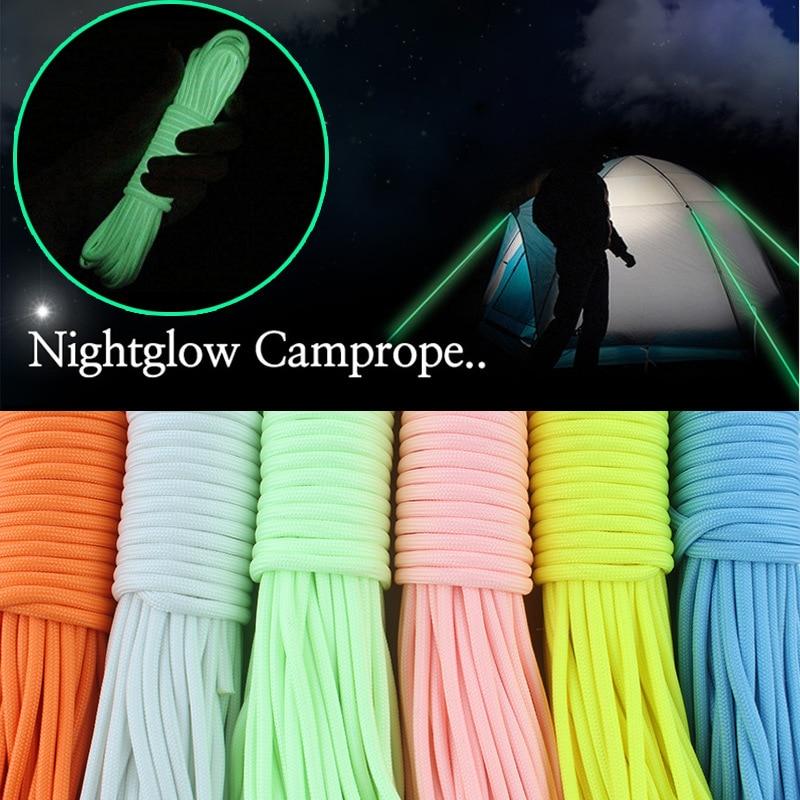 20 metros Paracord-larga noche crecer soga para acampar luminosa de cuerda supervivencia cuerda de escalada Multi-funcional de Paracord para exteriores