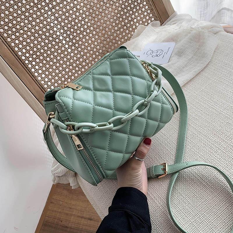 Couleur unie PU cuir seau sacs pour femmes 2020 mode chaîne épaule sac à bandoulière femme sacs à main et sac à main