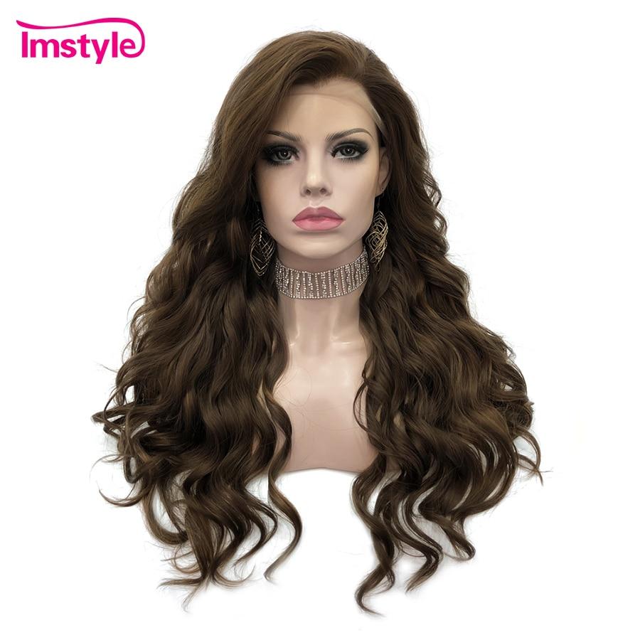 Imstyle-شعر مستعار صناعي مموج للنساء ، شعر من الألياف بدرجة حرارة عالية ، بدون غراء ، للاستخدام اليومي ، 24 بوصة