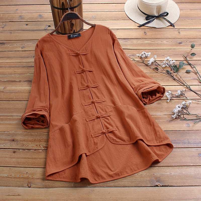 ZANZEA verano blusa Vintage mujer 3/4 manga botones camisa algodón Lino Tops mujer Casual cuello pico Blusas femeninas Chemise