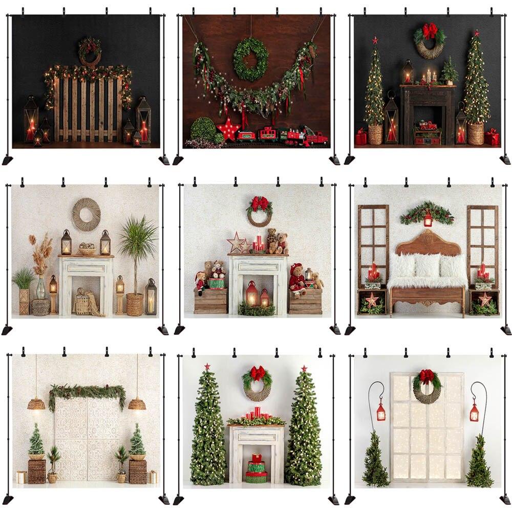 Mocsicka Xmas Photography Background Christmas Tree Fireplace Backdrop Wreath Child Portrait Decoration Props Photo Studio