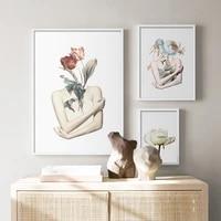 Affiches et imprimes de plantes et de fleurs  peintures murales de galerie pour filles  peinture sur toile nordique  images creatives pour decoration de maison
