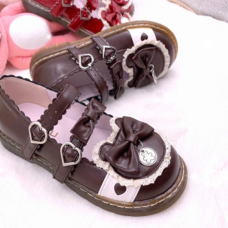 Harujuku-أحذية لوليتا كلاسيكية ذات رأس دائري ، أحذية تنكرية Kawaii ، ربطة عنق لطيفة من الدانتيل ، قوطية ، Kawaii Girl Loli ، جديد