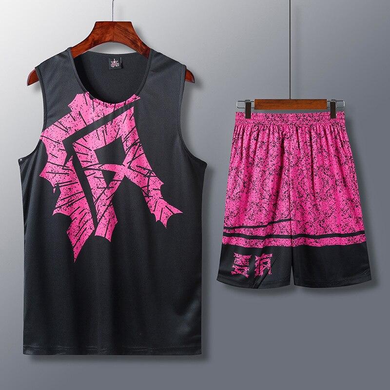Conjunto de Jersey de baloncesto para hombre, uniforme de baloncesto invertido, traje deportivo estampado, pantalones cortos de camisa de entrenamiento