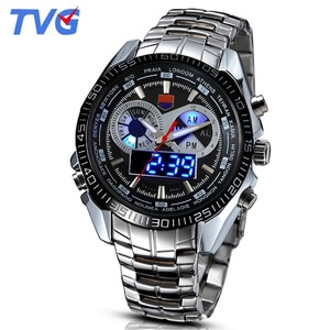 TVG Men Watches Unique Blue Led Disply Analog Digital Quartz Watches Military Army Sports Watches Men Relogio Masculino