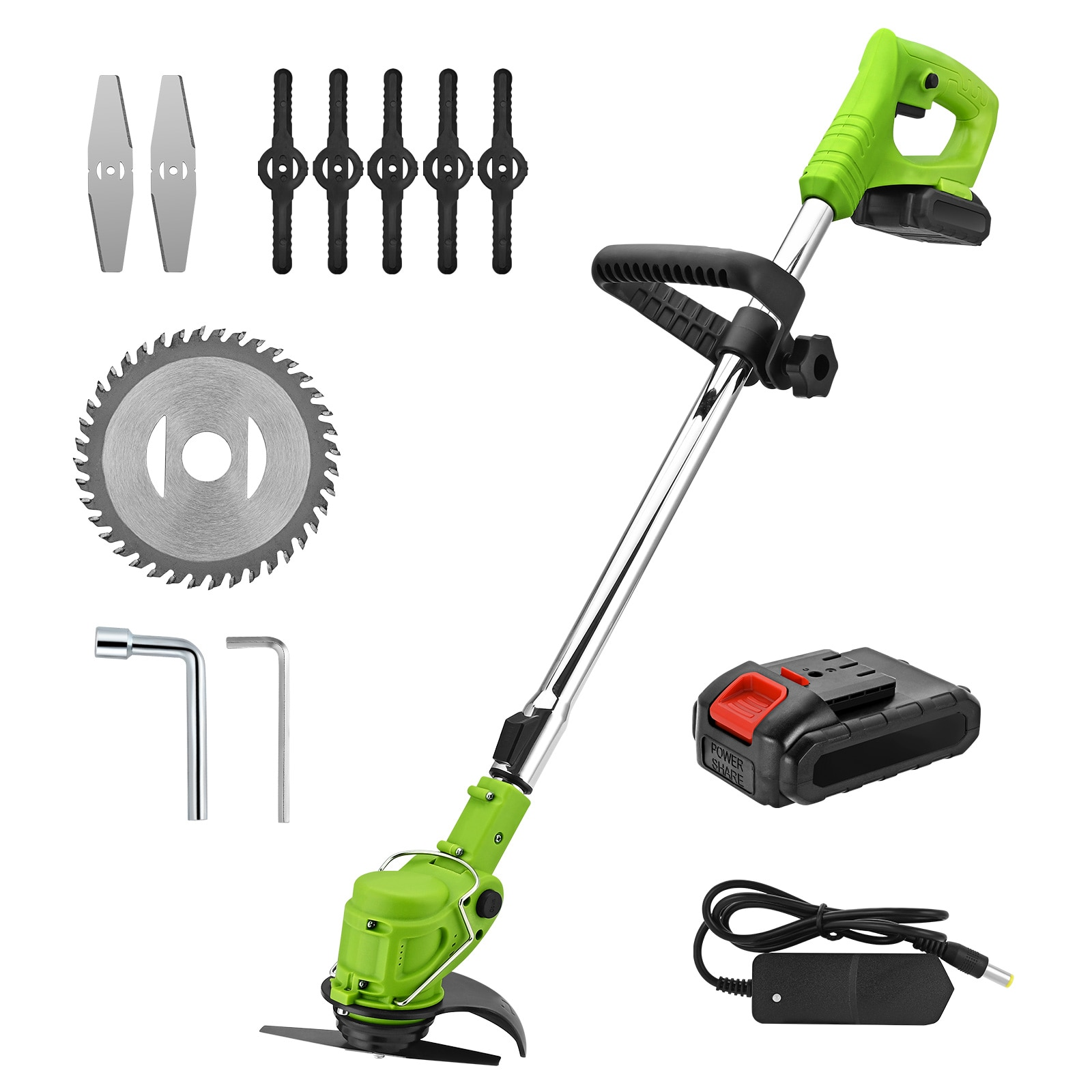 Cordless Grass Trimmer Brush Cutter Wireless Handheld Lawn Mower Garden Tools For Weed-Wacking With 21V Lithium-ion Battery