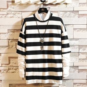 5XL Long Sleeve T shirt Men Hip hop Casual Fashion Cotton Stripe Fitness Tee Male Streetwear Oversized Harajuku T shirts