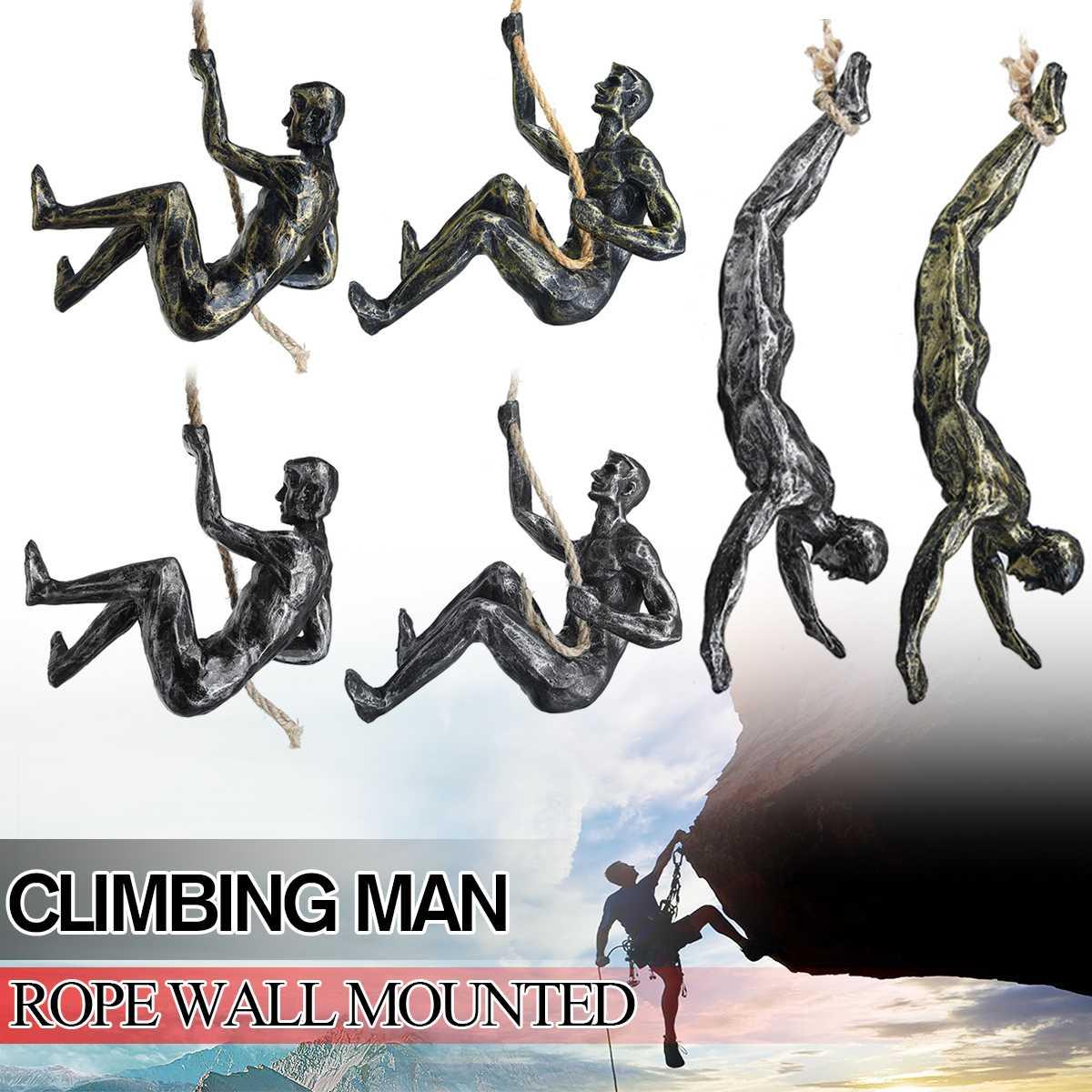 Hecho a mano Global escalada hombre resina Alambre de hierro decoración colgante de pared figuras de escultura creativo Retro regalo estatua Decoración