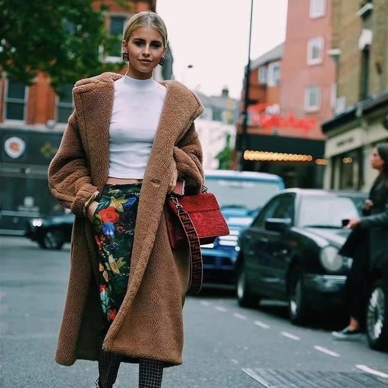 2020 Тедди мишка пальто зимнее теплое меховое пальто куртка флисовая куртка Женская искусственный мех средней длины Дамская шерстяная длинн...