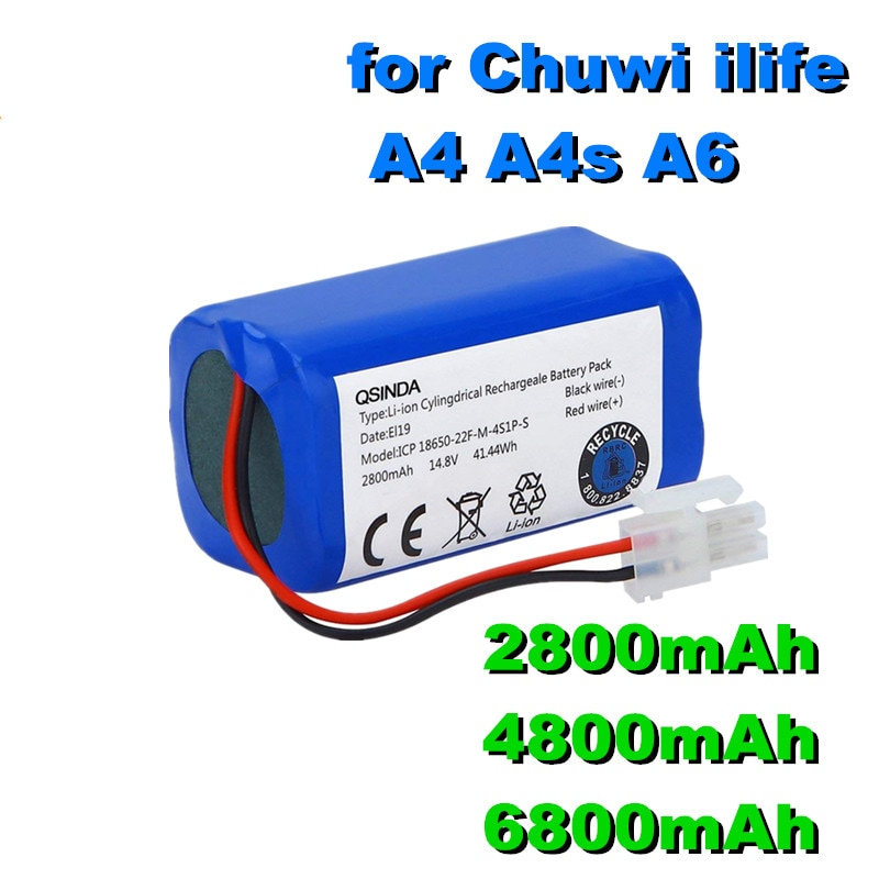 Promo 100% New original Rechargeable Battery 14.8V 6800mAh robotic vacuum cleaner accessories parts for Chuwi ilife A4 A4s A6