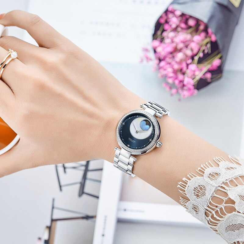 Sollen Automatic Mechanical Watch Women's Waterproof Diamond Trend Watch Fashion Galaxy Shell Table enlarge