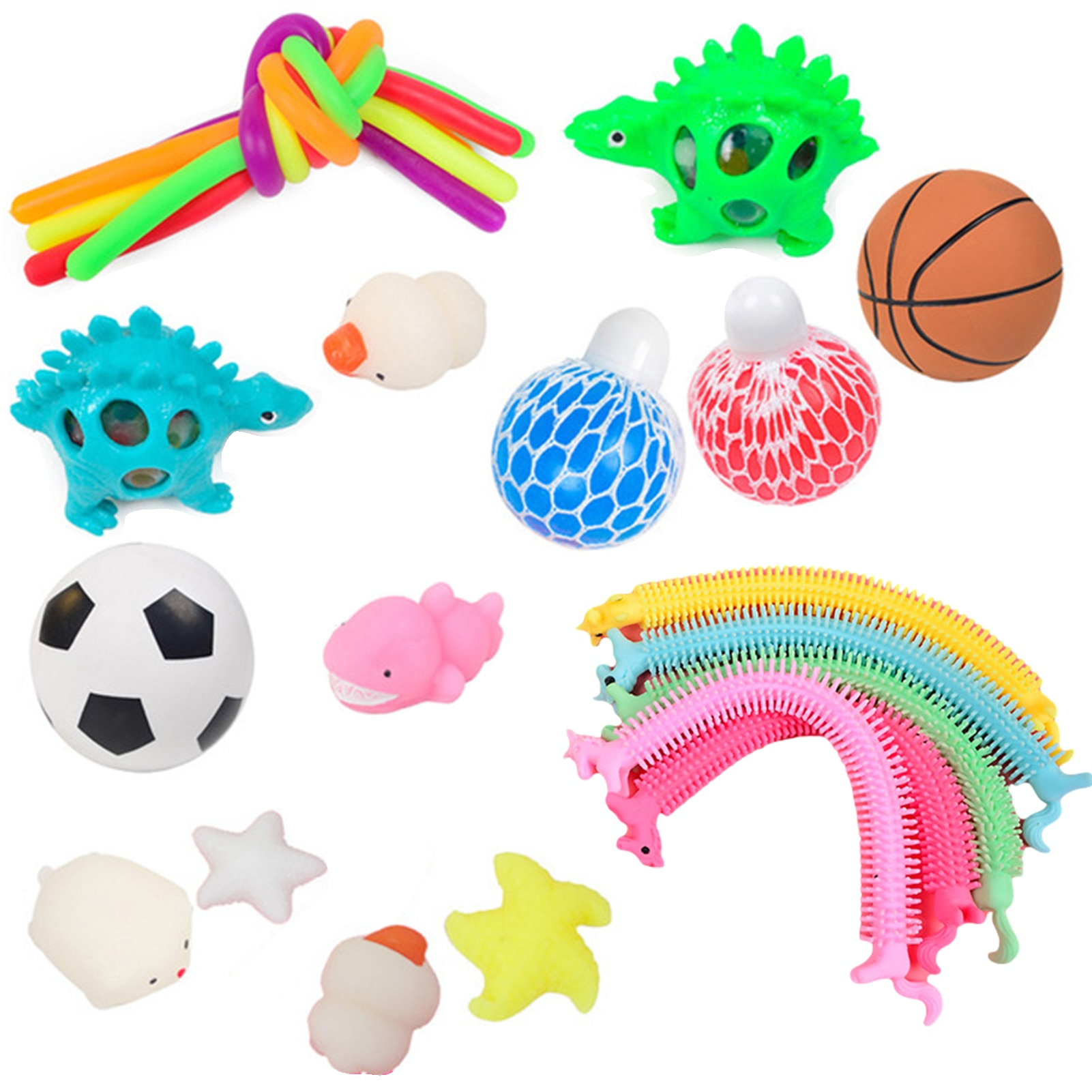 22 IN 1 Portable Fidget Sensory Toys Set Lightweight Pressure Relief Flexibility Elasticity Toy Ball for Children's Kids Adults