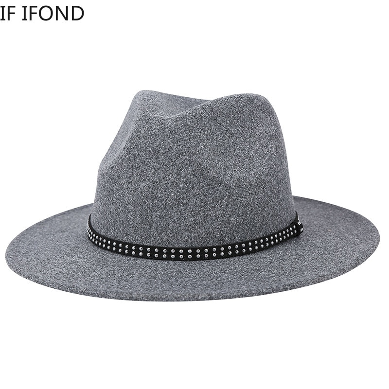 New Autumn And Winter Wool Felt Fedora Hat Women Men Classic Trilby Hat with Belt Solid Church Jazz