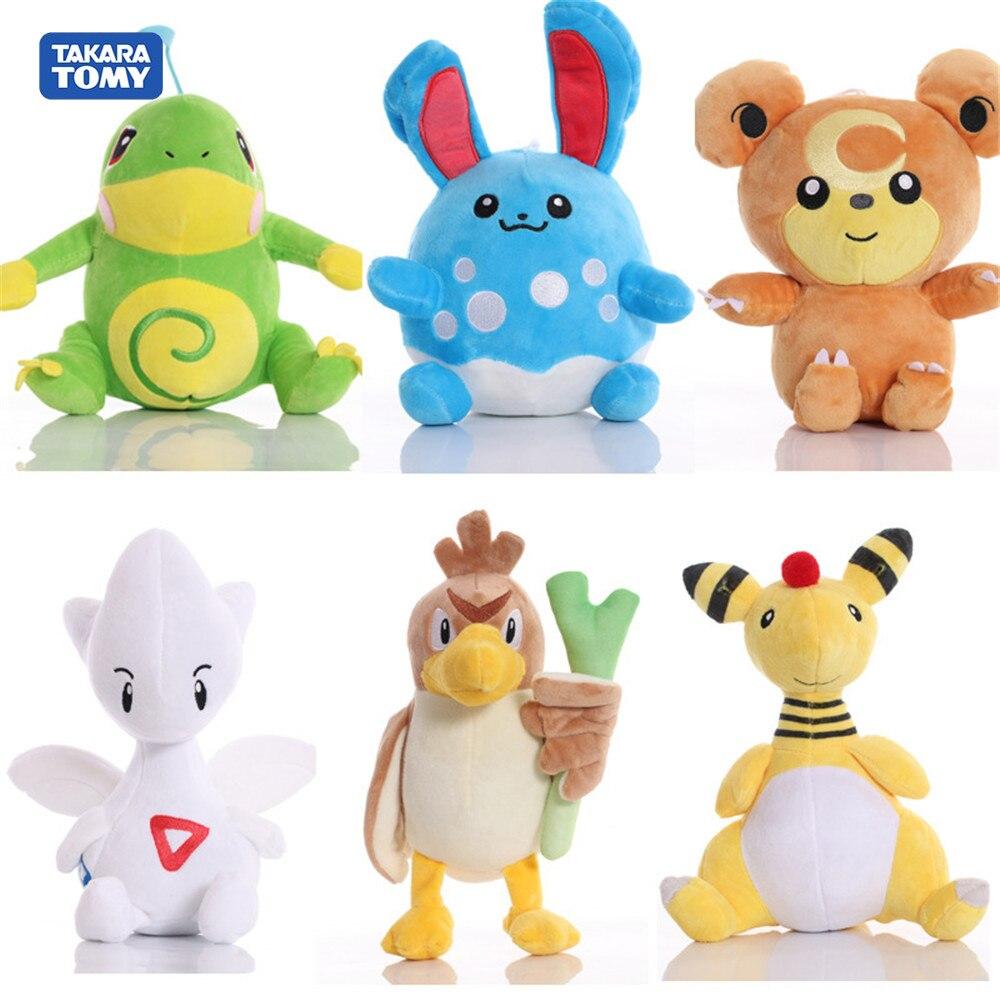 New Pokemon Politoed Azumarill Ampharos Teddiursa Farfetchd Togetic plush evolution doll cute Claw machine toys Children gift
