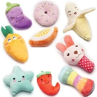 1pc plush squeaky pet toys bite resistant clean dog chew puppy training toy cute orange star vegetables bread pet supplies