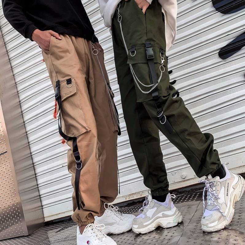 Cool Otoño Invierno mujer Streetwear Retro negro Harajuku pantalones Punk Pantalones Casual de cintura alta Pantalones rectos Streetwear mujeres