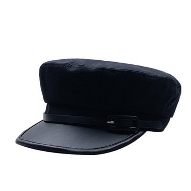 Mujeres negro militar sombreros boinas Otoño Invierno Inglaterra moda Pu cuero Patchwork Harajuku Newsboy gorras con cinturón femenino