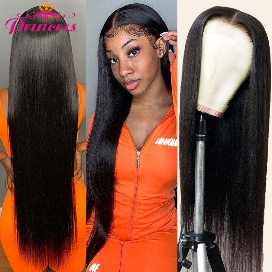 Princess 13x4/13x6 Lace Front Human Hair Wigs PrePlucked 4x4 Closure Wig 8-34 Inch Brazilian Straight Lace Frontal Wig 180% Remy