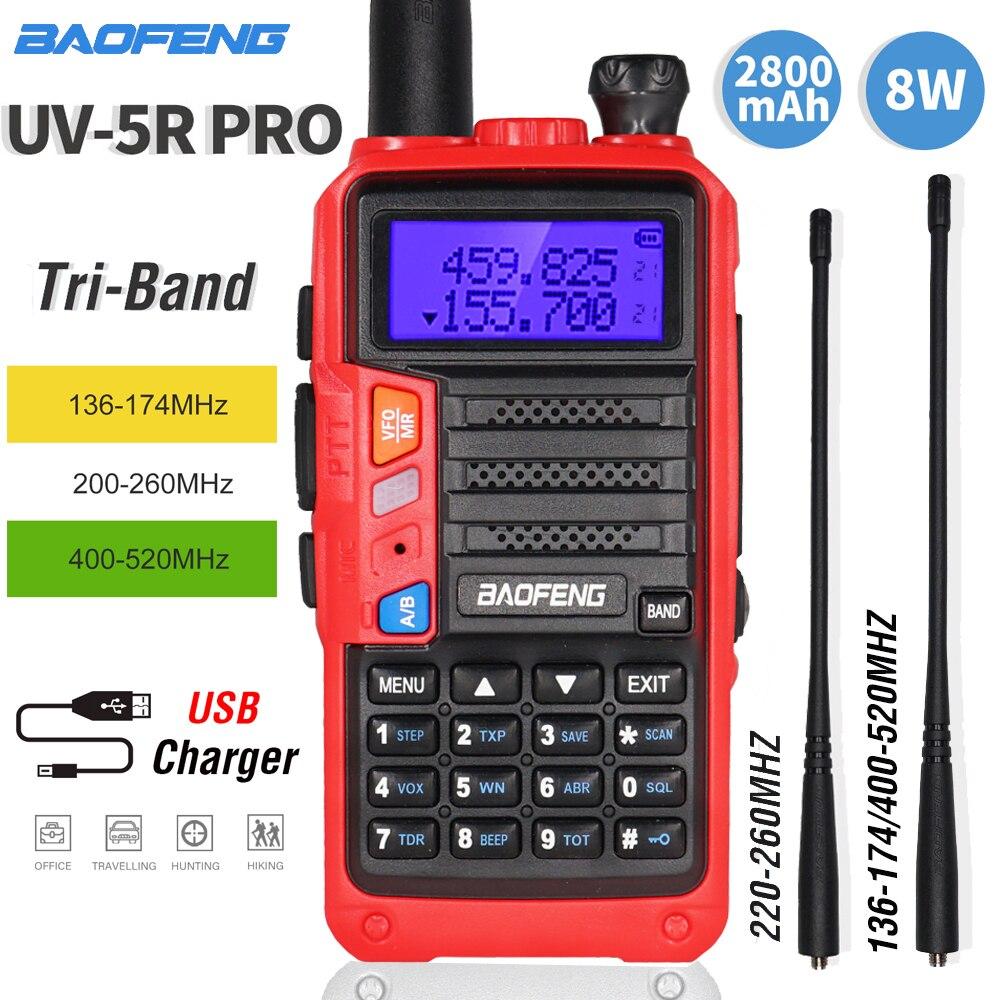 NEUE BaoFeng Tri-Band UV-5R Pro Walkie Talkie 8W High Power Portable Two Way Radio HF FM Transceiver UV 5R Upgrade CB Ham Radio