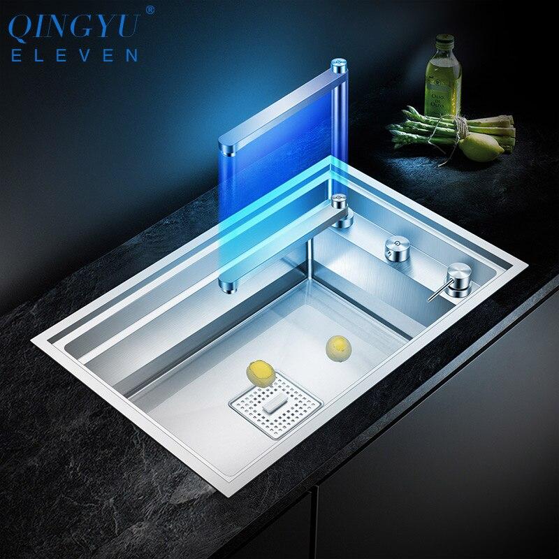 2020 neue küche Waschbecken Doppel Abdeckung versteckte Einzigen Großen Größe 304 Edelstahl 4mm Dicke Handgemachte Gebürstet küche Waschbecken