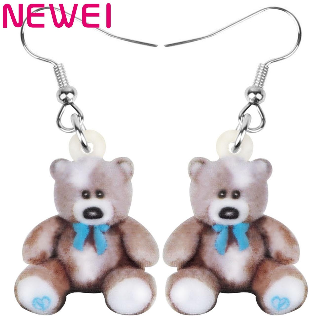 Newei Acrylic Brown Plush Teddy Bear Earrings Printing Realistic Cute Animal Dangle Drop For Women Girls Vintage Gift Jewelry