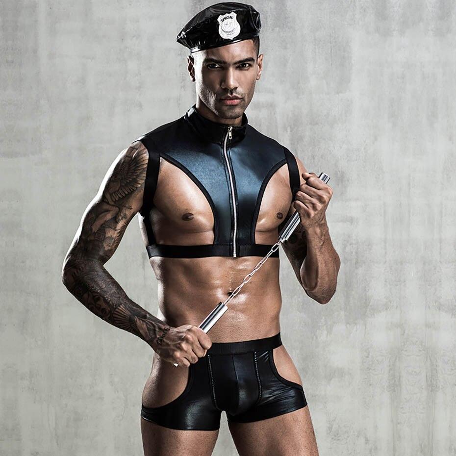 JSY Porn hombres Sexy uniforme de policía Bodysuit Lencería Cosplay Sexy caliente erótico látex Catsuit ropa interior Sexy ropa Porno disfraces