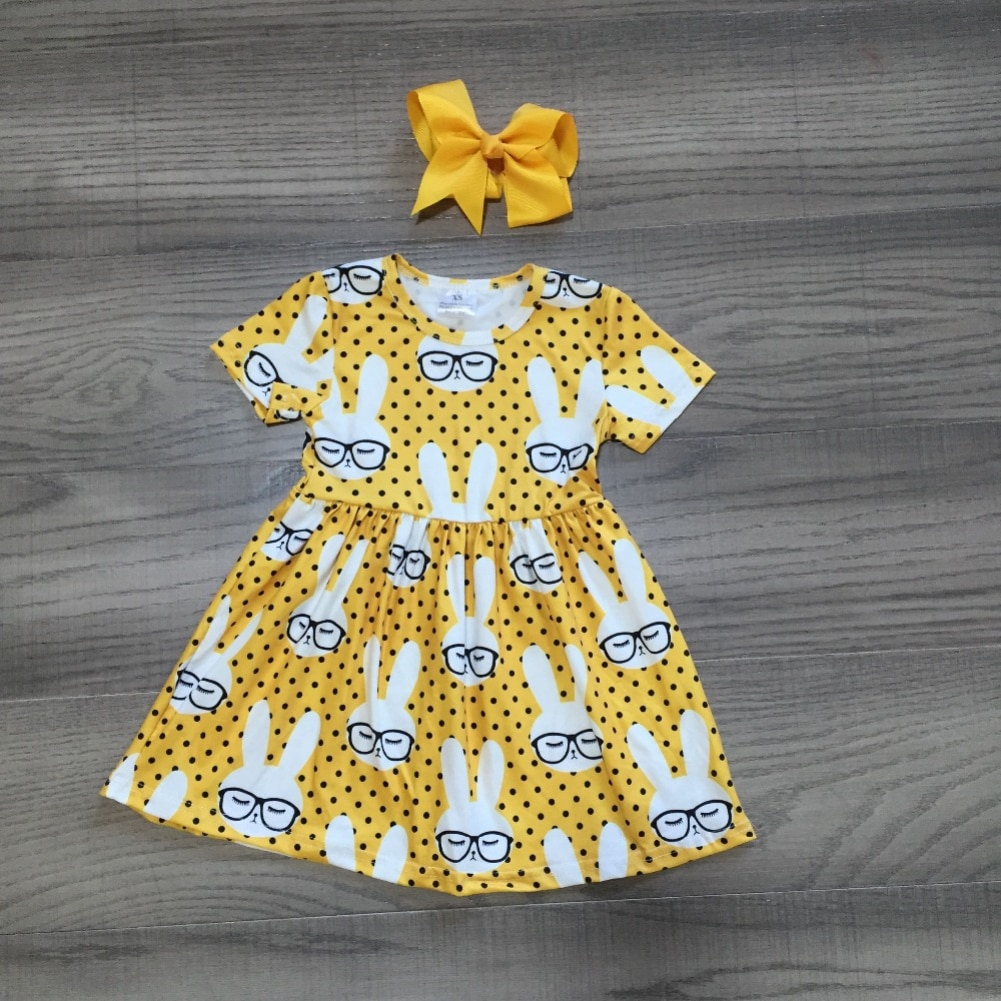 Pudcoco Kleinkind Baby Mädchen Kleidung Kaninchen Drucken Kurzarm Polka Dot Kleid Pageant Party Urlaub Sommerkleid Kleidung